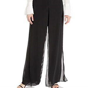 Black Chiffon Evening Pants, Double Layer